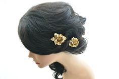 Gold flower hair pins gold rose hair clips by HILDASelements