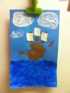 Thanksgiving craft ideas for toddlers and kids: handprint Christpoher Columbus  art www.thebrighterwriter.blogspot.com