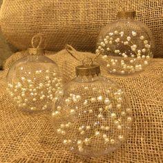 THREE BEAUTIFUL Clear Christmas Ornaments Beaded Pearls inside | Pearl Ornaments | Handmade Ornaments | Holiday Decor