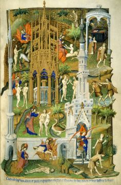 The Beford Hours by Master of the Duke of Bedford  ~ The creation and fall of Adam and Eve, from the Bedford Hours.