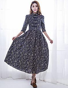 Women's+Vintage/Print/Party/Maxi/Plus+Sizes+Wooden+Buckle+Inelastic+¾+Sleeve+Pleated+Midi+Dress+(Cotton/Linen)+–+USD+$+22.99