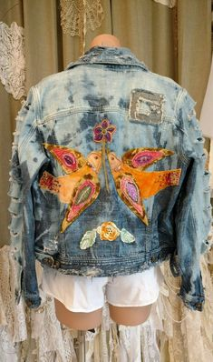 UpCycled M L Jean Jacket Bird Applique Distressed Bleached Ripped Holes tmyers Love Jeans, Blue Jean Jacket, Sewing Clothes, Vintage Lace, Vintage Accessories, Lace Shorts, Upcycle, Bird Applique, Rompers