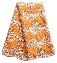 Orange afrikanische spitze tüll stoff freies verschiffen nigerianischen neueste spitze 2016 net mesh-stil mit weiß guipure-spitze stoff für mädchen