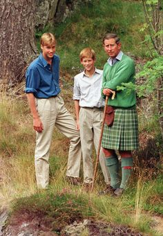 Prince William & Prince Harry, with their father Prince Charles