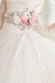 Fresh Flower Belt on Bridal Gown | photography by http://www.elisabethmillay.com/