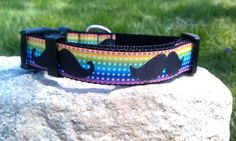 Rainbow Mustaches Dog Collar by WillyWoofs on Etsy, $16.00