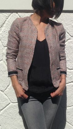 VESTE MONCEAU de COZY LITTLE WORLD, en mode Chanel!!! Tissu Tweed et biais de chez PRETTY MERCERIE