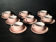 Vintage Hornsea Swan Lake Pink Pottery - Set of 8 Tea Cups and Creamer - Made in England by on Etsy