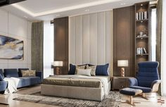 Taking Bedroom Interiors to the next level? Here's a luxurious, high-end Interior design transformation of a Residential Home. Empire Design, Bedroom Interiors, Residential Interior Design, Curtains, Stone, Luxury, Furniture, Home Decor, Blinds