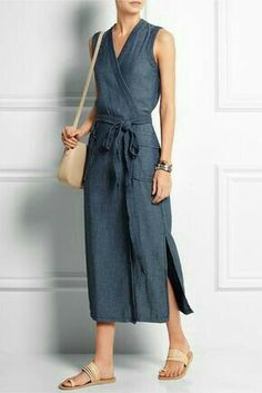 Madewell - Denim wrap dress Blue denim Concealed snap fastening at front cotton Machine wash Mode Outfits, Dress Outfits, Casual Dresses, Fashion Dresses, Summer Dresses, Wrap Dress Outfit, Easy Dress, Modest Fashion, Denim Dress Outfit Summer