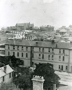 https://flic.kr/p/aBoERb | Great Northern Hotel, with the old Newcastle Hospital in the background (n.d.) | This photograph is from the Hospital archives held by the University Archives in Cultural Collections, Auchmuty Library, the University of Newcastle, Australia. This image can be used for study and personal research purposes. If you wish to reproduce this image for any other purpose you must obtain permission by contacting the University of Newcastle's Cultural Collections. Please cont