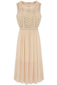 Pink Sleeveless Lace Pleated Chiffon Long Dress - Sheinside.com
