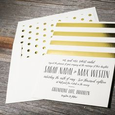Complete with gold foil stripes, playful polka dots & foil stamped envelope liners, Sweet Henriette is a chic wedding invitation with Kate Spade-like style.