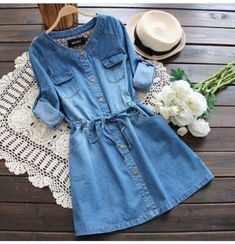 Want this denim dress? in 2020 Want this denim dress? in 2020 Teen Fashion Outfits, Denim Fashion, Trendy Outfits, Fashion Dresses, Cute Outfits, Fashion Women, Spring Dresses Casual, Stylish Dresses, Cute Dresses