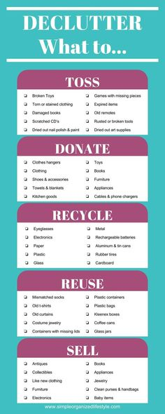 Declutter- What to Toss, Donate, Recycle, Reuse, Sell Organisation Ideen Housekeeping House Cleaning Tips, Spring Cleaning, Cleaning Hacks, Cleaning Checklist, Cleaning Solutions, Cleaning Closet, Deep Cleaning, Casa Clean, Clean House