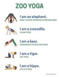 Zoo Animals Yoga Poster
