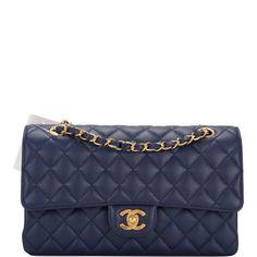99a384c1a1bd Chanel Dark Blue Quilted Caviar Medium Classic Double Flap Bag