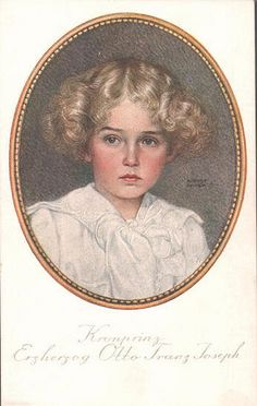 """""""Crown Prince Archduke Otto Franz Joseph"""".  In reality, his name was Franz Joseph Otto (von Habsburg).  In former times, royalty and aristocracy dressed their boys in a manner we now consider for girls, until their first communion."""