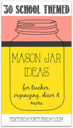 Thirty School Themed Mason Jar Ideas for classroom, teacher & more! ¤♡¤ I love the chalkboard one with the chalk attached to the jute string! Couldnt pin it separately for some reason Mason Jar Wine, Mason Jar Gifts, Teacher Appreciation Gifts, Teacher Gifts, Bottles And Jars, Glass Jars, Mason Jar Projects, Ball Jars, Canning Jars