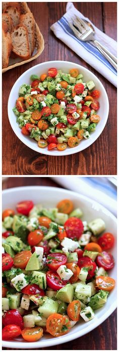 Tomato, Cucumber, Avocado Salad (Free Recipe Below) Cucumber Avocado Salad, Avocado Salat, Clean Eating, Healthy Eating, Good Food, Yummy Food, Cooking Recipes, Healthy Recipes, Soup And Salad