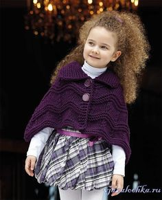 Beautiful warm cape on the shoulders for a six-year-old girl. Kids Knitting Patterns, Knitting For Kids, Crochet For Kids, Crochet Wool, Knitting Wool, Baby Knitting, Crochet Pattern, Free Pattern, Girls Sweaters