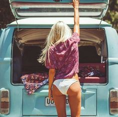 Vw camper bay window & surf chick.