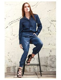 Turn Down Collar Long Sleeve Denim Jumpsuit (Blue)