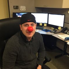 Brian of The Carpet Guys having fun sharing the message #RedNoseDay #RedNoseDay2015