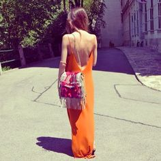 Love the back of this dress  the color! Want the purse too