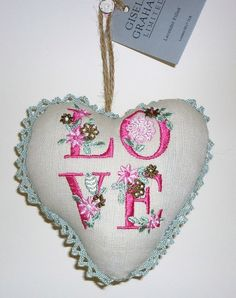 NEW Gisela Graham Lavender Scented Love Fabric Heart Sign Wedding Decoration | eBay