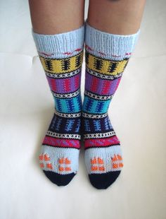 knit socks colourful Turkish Knitted Socks by AnatoliaDreams