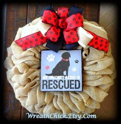 Dog lover's gift Dog rescue wreath Pet lovers decor by WreathChick