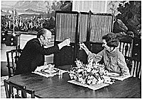 Photograph of President Gerald Ford and First Lady Betty Ford Offering Each Other a Toast in the Second Floor Family Dining Room as They Celebrate Their 26th Wedding Anniversary, 10/14/1974