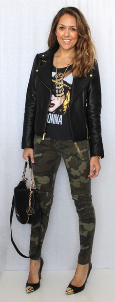 Dark camo skinny jeans with leather jacket and concert tshirt