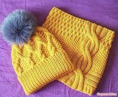 Добрый вечер! Увидела в интернете очаровательную шапочку и снуд к ней с оригинальным подбором узоров. Делюсь с Вами описанием: 2 варианта узора шапки в картинках + коса к снуду: