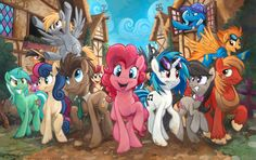 Smile! by sophiecabra on deviantART. [ Pinkie Pie, Doctor Whooves, Bon Bon, Lyra, Vinyl Scratch, Octavia, Big Mac, Derpy, Spitfire, The Great and Powerful Trixie, Daring Doo, Thunderlane, Roseluck, Wildfire, and Berry Punch. ]