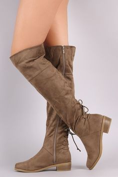 d79f2b9772cc These over the knee boots feature a lace-up design at the back