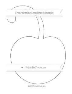Free Printable Extra Large Cherry with Curled Stem Template