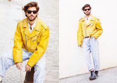 Vintage Biker Jacket, Vintage Shirt, Vintage Jeans, Dr. Martens Boots
