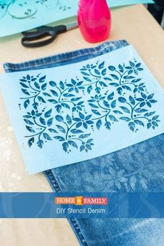 DIY Stencil Denim – Update an old pair of jeans by using bleach to stencil the denim. DIY by /orlyshani/ on Home and Family! DIY Stencil Denim – Update an old pair of jeans by using bleach to stencil the denim. DIY by /orlyshani/ on Home and Family! Stencils, Stencil Diy, Fabric Crafts, Sewing Crafts, Sewing Projects, Diy Projects, Furniture Projects, Craft Robo, Jean Crafts