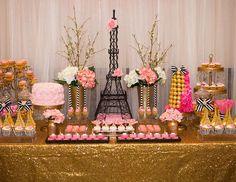 Gorgeous dessert table at a Paris bridal shower party! See more party planning… Paris Bridal Shower, Bridal Shower Party, Bridal Shower Decorations, Wedding Showers, Table Decorations, Parisian Party, Parisian Wedding, Dessert Bar Wedding, Dessert Table