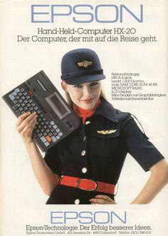 """Epson HX-20, 1981. First laptop in the world? La Epson HX-20 (también conocida como HC-20) es generalmente considerada como la primera computadora portátil, anunciada en noviembre de 1981, aunque no se empezó a vender ampliamente hasta 1983. Aclamada por la revista BusinessWeek como la """"cuarta revolución en computación personal"""", es generalmente considerada la primera computadora tipo notebook portátil y es por esta razón que es muy valorada entre coleccionistas."""