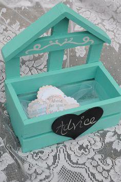 Wedding Box Alternative Guest Book Advice Box with Chalkboard Heart Sign for Wedding Dcor Reception Decoration Wedding Keepsake Teal by SilverBirdBoutique