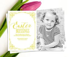 Easter Photo Card // Personalized Printable Yellow Easter