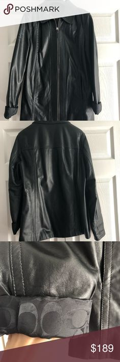 Coach leather jacket Pre owned Coach leather jacket for women. 100% leather and 100% authentic. Shows some signs of wear. Price reflects the usage. The back has a small tear. And on the arm and under sleeve is dirty. Needs cleaning. This is a very soft and very comfy leather jacket. Zip closure on the front. The sleeves you can fold to show the coach monogram or pull it down just to show leather. Size M. Inside all coach monogram. Black color. Coach Jackets & Coats