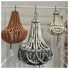 Hand rolled clay beaded chandeliers by Hellooow Handmade , a South African socially responsible company at NY NOW.
