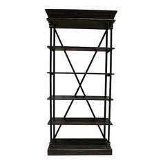 Michela - Dark Wood Iron X Back || Dark wood and black iron, 5 shelf display rack with metal cross back. Perfect for bar back or display shelves. Dimensions: 35 1/2 x 16 x 75.