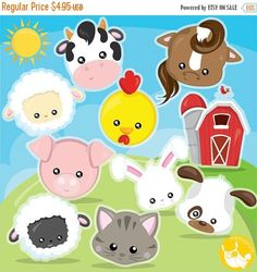BUY 20 GET 10 OFF Farm animal faces clipart commercial use barn clipart vector graphics animal faces clip art digital images - by Prettygrafikdesign Clipart, Conception Web, Barn Animals, Image Paper, Image Originale, Create Invitations, Digital Scrapbook Paper, Animal Faces, Farm Yard