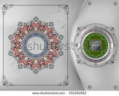 Processor Chip on metallic device nailed on steel board with screws; Ornamental arabesques frames and arabesque rosette/mandala on scratched metallic background. Technology Background, Royalty Free Images, Vectors, Metallic, Illustrations, Stock Photos, Circuit Board, Arabesque, Abstract