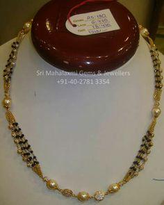 Black Diamond beads necklace  / nalla poosalu